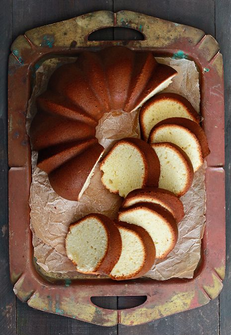 Low Fat Pound Cake - love that pan and the way the cake is cut and styles via @Bakers Royale