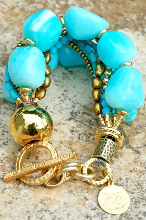 Monte Carlo: Luxurious Blue Opal, Gold and Bronze Multi-Strand Bracelet