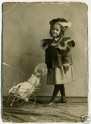 CHILD DOLL PHOTO with STROLLER Antique Vintage 1890 Original