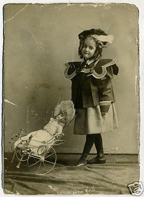 CHILD DOLL PHOTO with STROLLER Antique Vintage 1890 Original