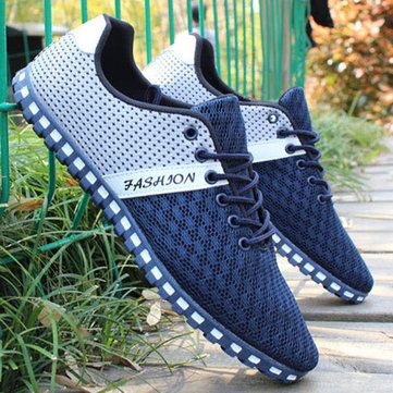 US Size 6.5-11 Men Mesh Breathable Casual Outdoor Canvas Flat Sneakers - US$22.99