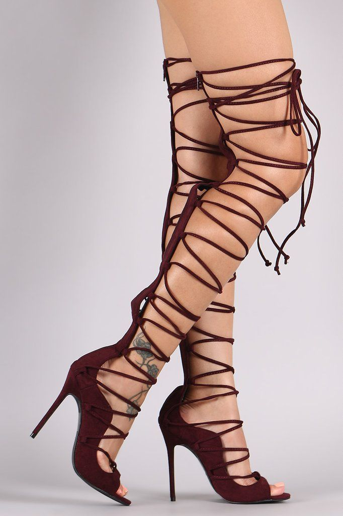 116 best Lace Up Knee High Heels images on Pinterest | Knee highs ...