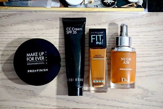 Best of 2015 Foundation: Make Up For Ever Pro Finish Multi-Use Powder Foundation, Bobbi Brown Golden Nude CC Cream, Maybelline Fit Me Matte + Poreless, Dior Diorskin Nude Air Serum