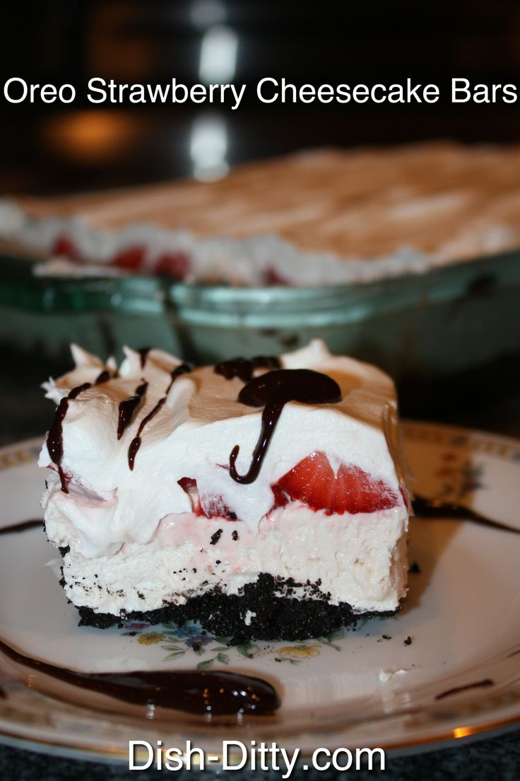 NO BAKE Oreo Strawberry Cheesecake Bars  Recipe by Dish Ditty
