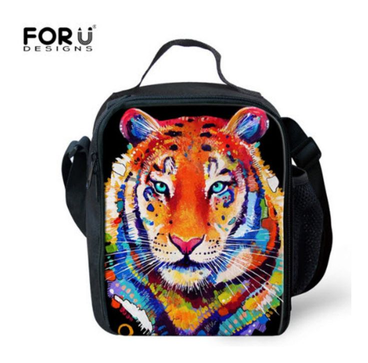 C484G 3D Zoo Kids Lunch Bags Owl Cat Tiger Wolf Rabbit Lunchbox For Kids…