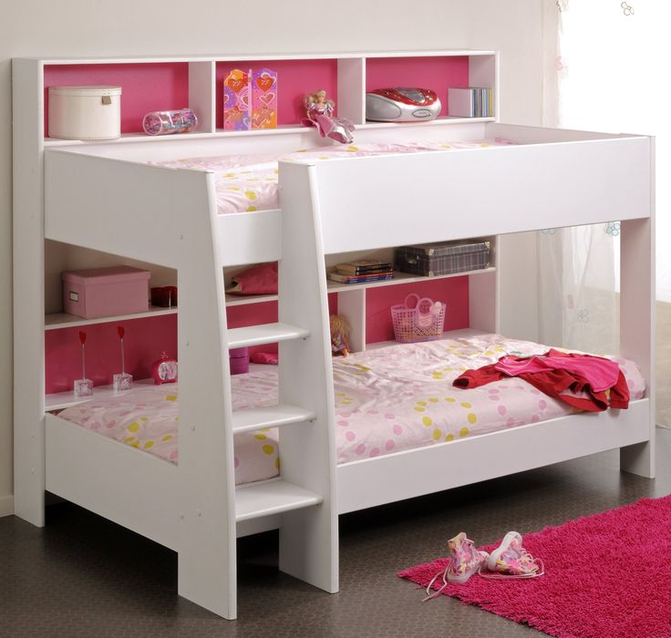 Parker Bunk Bed, White finish with Pink Fascia Showing