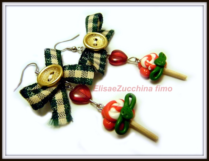 Handmade earrings with fimo charms, glass beads, bottons and bows by www.elisaezucchina.blogspot.it