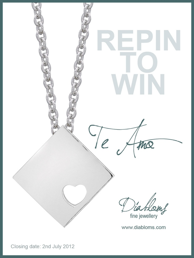 It's back!! Our iconic Te Amo collection has grown!! We are giving away some of our Te Amo silver pieces to one lucky person. All you need to do is REPIN this on one of your boards to be in with a chance of winning some new jewellery. There is no limit to how many times one can pin. So put it on multiple boards. Good luck. Full collection available at www.diabloms.com