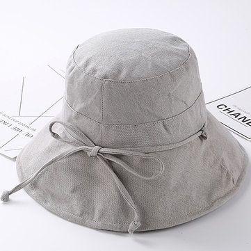 ffaed78bdf147 Women Summer Casual Cotton Bucket Hat Foldable Wide Brim Sunscreen Beach Cap