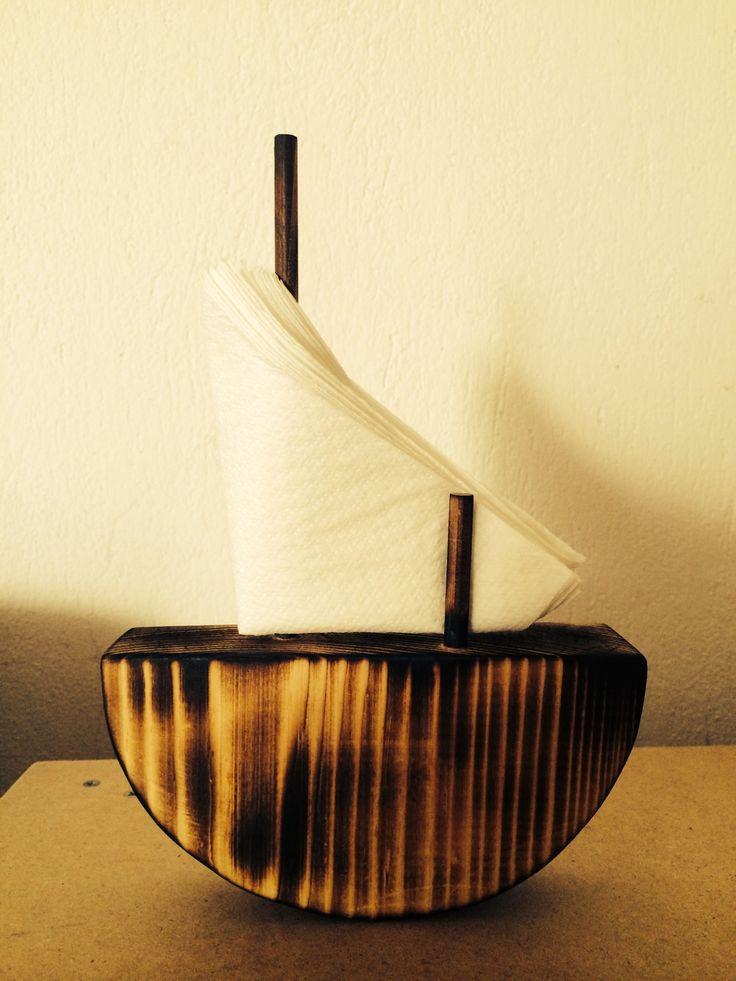 Wooden boat for napkins