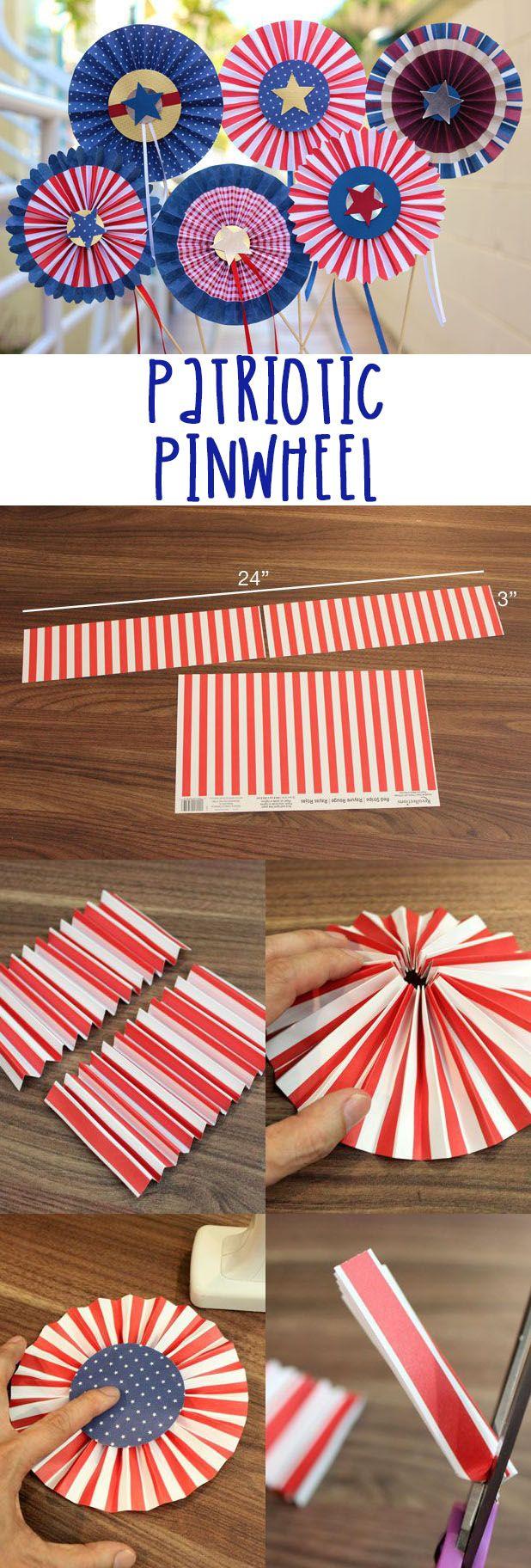 Red, white and blue pinwheel rosettes! #crafts #diy