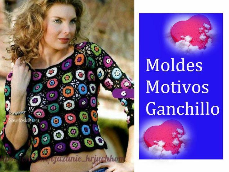 Delicadezas en crochet Gabriela: Remera de motivos de colores