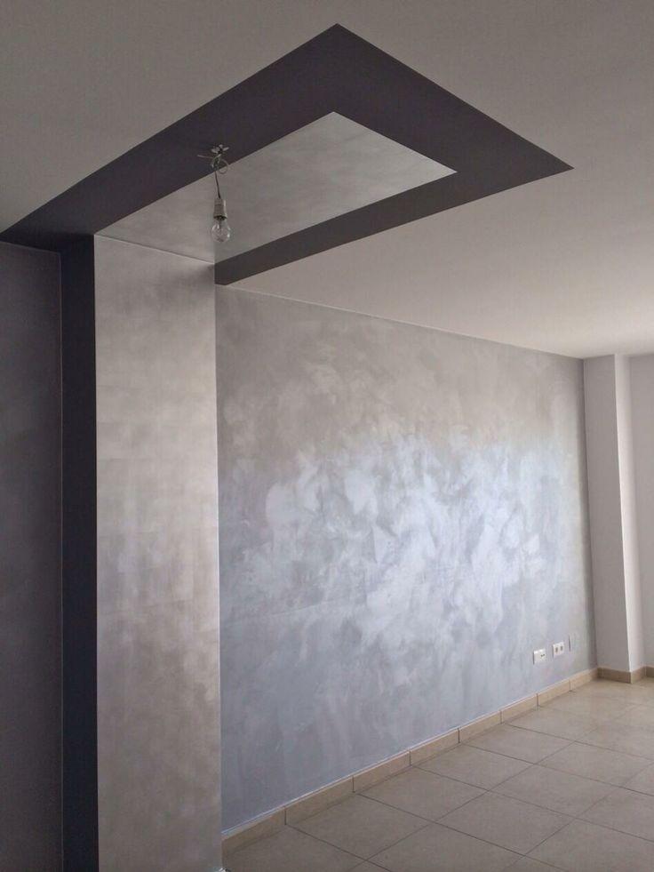 Pared de efecto seda y pilar y techo de pan de plata - Pintura decorativa para paredes ...