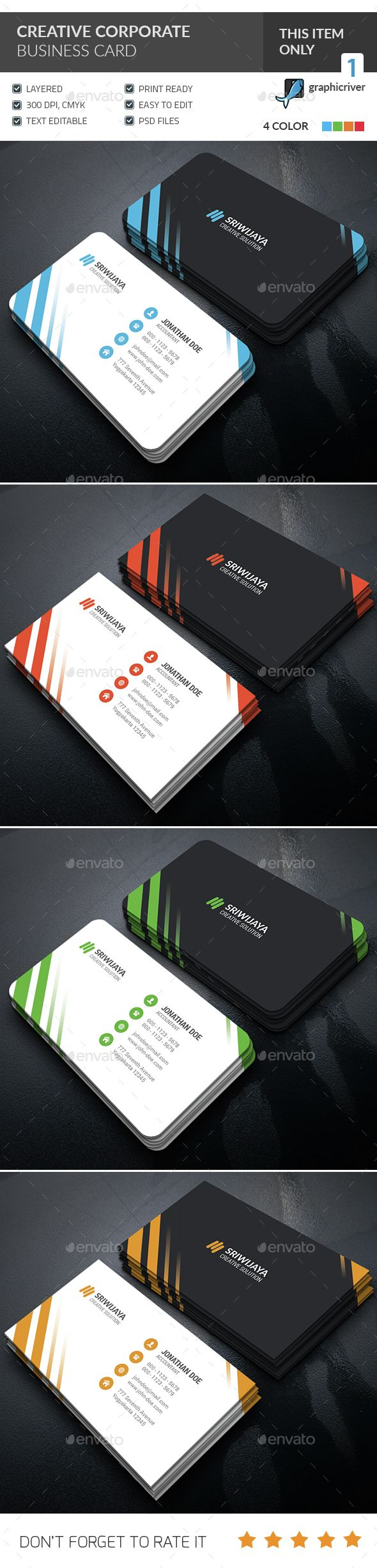 Creative Corporate Business Card Template PSD #design Download: http://graphicriver.net/item/creative-corporate-business-card-/14520462?ref=ksioks