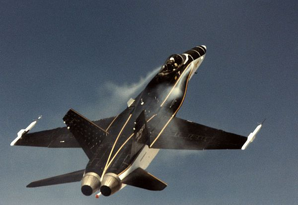FA18 LEX. TheHigh Alpha (angle of attack) Research Vehiclewas a modifiedF/A-18 Hornetused byNASA