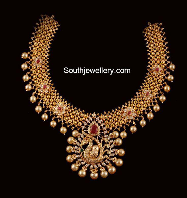 antique_gold_necklace_peacock_pendant.jpg (905×960)