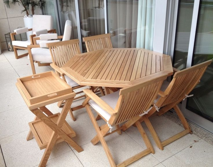 Outdoor furniture in solid oak, to a leisure space by Mi Loureiro