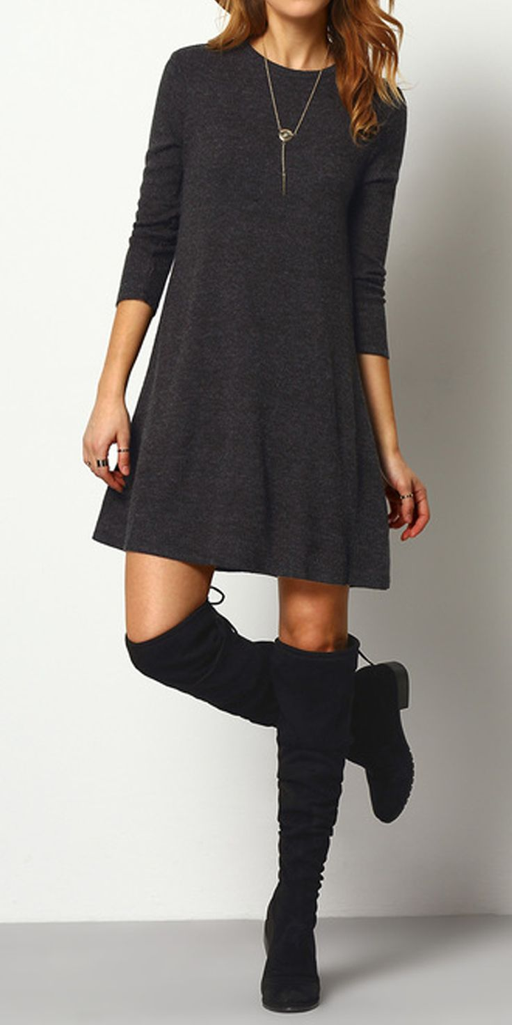 Ribbed Long Sleeve Sweater Dress DARK GREY