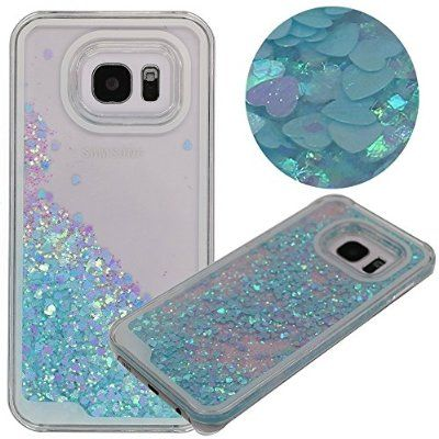 ea9e7dc2b76 S7 Edge Case ,Rinastore Galaxy S7 Edge Case,Creative Design Flowing  Quicksand Moving Heart Bling 3D Glitter Floating Dynamic Flowing Case…