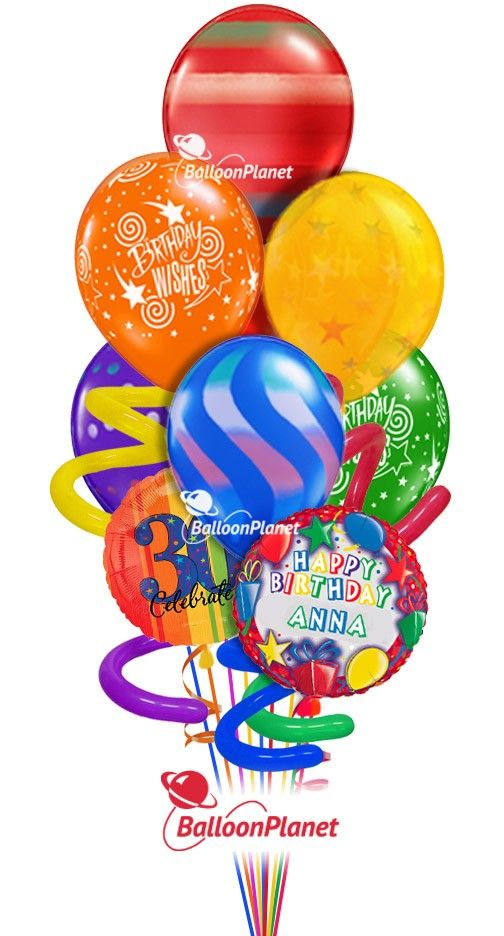 Jumbo Twisty Birthday Balloon Bouquet Name Optional Age Rainbow Prints 9 Balloons