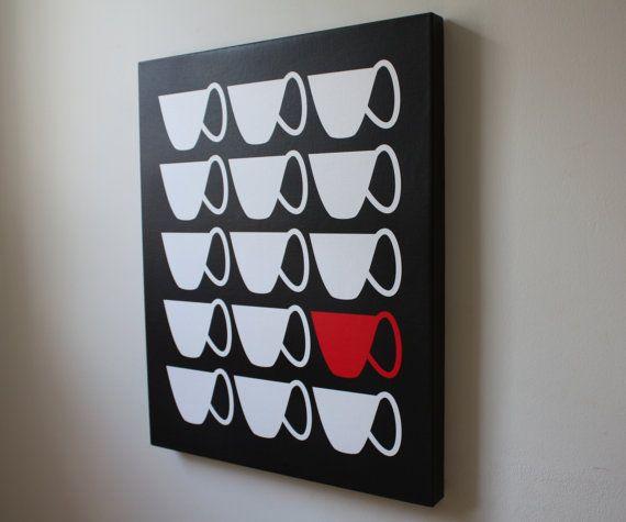 Wall Decor Kitchen Art Canvas Print 16x20 Tea Cups by TheApplesBee