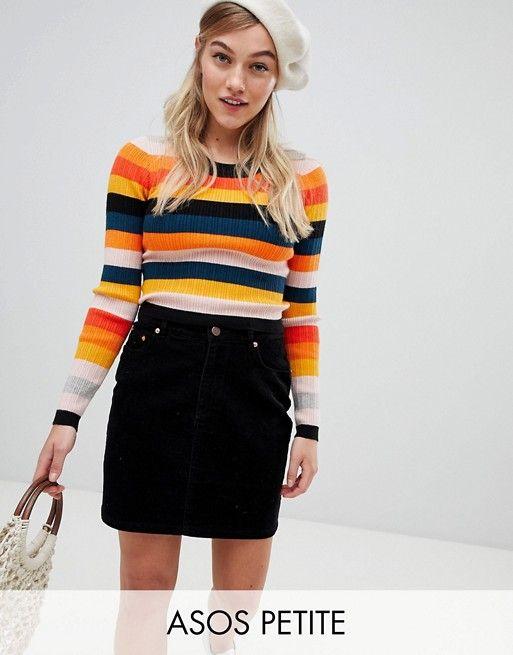 6fa44c3396 DESIGN Petite Ribbed Sweater In Fine Knit In Stripe
