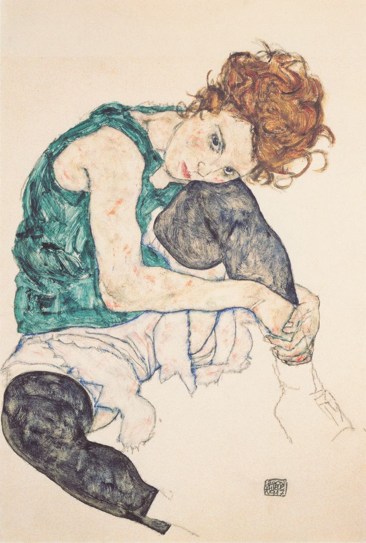 Egon Schiele - Seated Woman with Bent Knee (Národni Galerie, Prague / 1917)