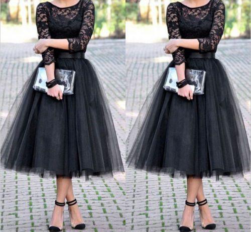 5 Lagen Tütü skirt Ballettrock Tüllrock Ball Gown Long Midi Skirt Swing Röcke