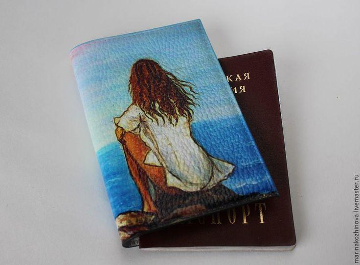 Купить Обложка на паспорт, натуральная кожа, декупаж))) - обложка на паспорт, обложка на документы, натуральная кожа