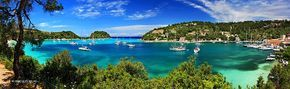 """Panoramic view (4 photos """"stiched"""") of Lakka bay & village. Paxos (""""Paxi"""") island, Ionian sea, Eptanisa (""""Seven Islands""""), Greece."""