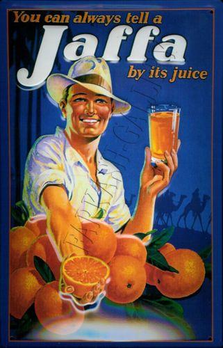 Vintage-Israeli-poster-Jaffa-oranges-old-Jewish-Palestine-Jerusalem-Holy-Land