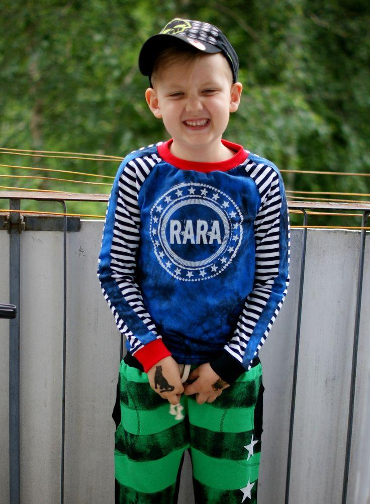 RARA - modré žíhané triko s pruhy RARA triko s dlouhým rukávem! Tričko šité z českých 100% bavlněných látek. Modrá přechází v šedou - černou, světlá je klasický pruhovaná. Lemy na triku jsou černé a červené. Velký RARA sítotiskový motiv na prsou. Ráda ušiju od velikosti 86 - 134 V objednávce si vyberte, zda chcete triko s dlouhým či krátkým rukávem. Na ...