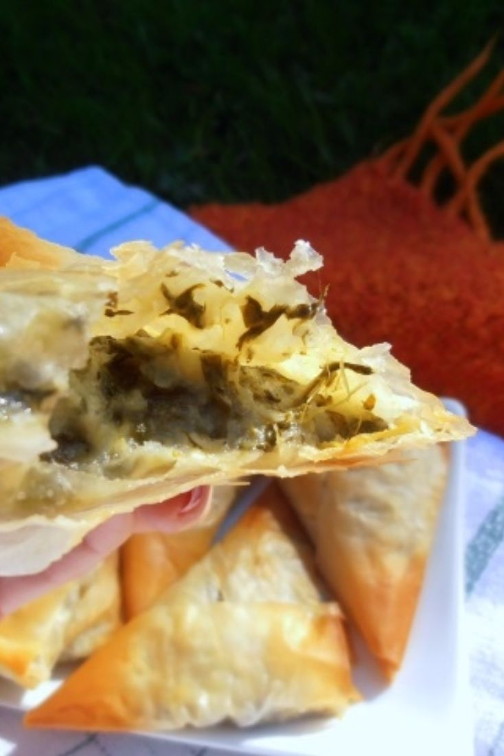 Filo Pastries with Potato, Spinach and Feta Filling [vegetarian]