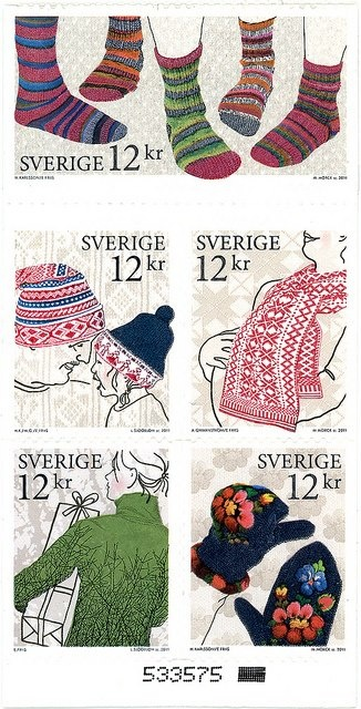 Sweden has always had interesting and fun postage stamps honoring all kinds of things- here traditional knitting.