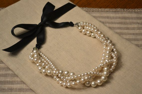 Jackie: Multiple Twisted Strand Ivory Pearl Necklace with Black Ribbon Tie - Bride, or Bridesmaids