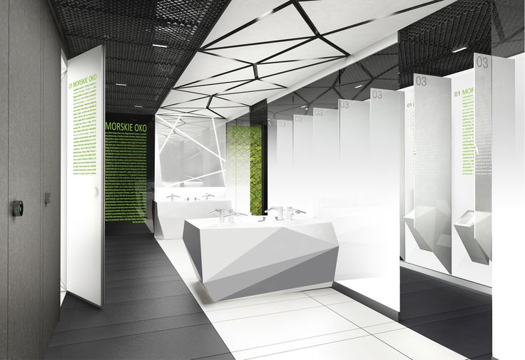 Design of the interior for public toilets and corridors in SC Złote Tarasy, stage 02. #geometric #minimal #zlotetarasy #architecture #design #interiors #art #light #plants