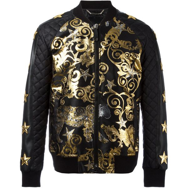 Philipp Plein Feel Gold bomber jacket (10.440 BRL) ❤ liked on Polyvore featuring men's fashion, men's clothing, men's outerwear, men's jackets, black, mens gold jacket, g star mens jacket, mens short sleeve jacket, mens quilted jacket and mens quilted bomber jacket