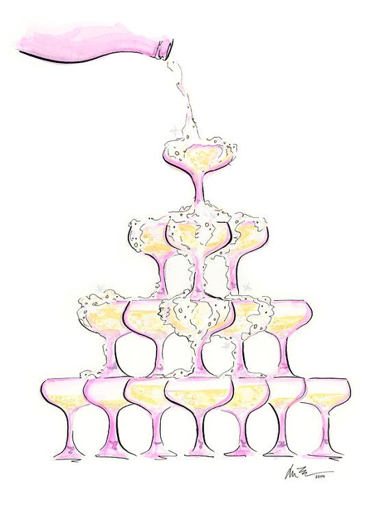 Pink Champagne Tower  Watercolor Illustration Art by KaraEndres, $25.00