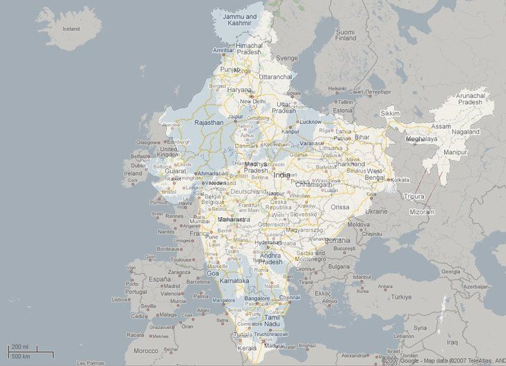 India's size compared to Europe