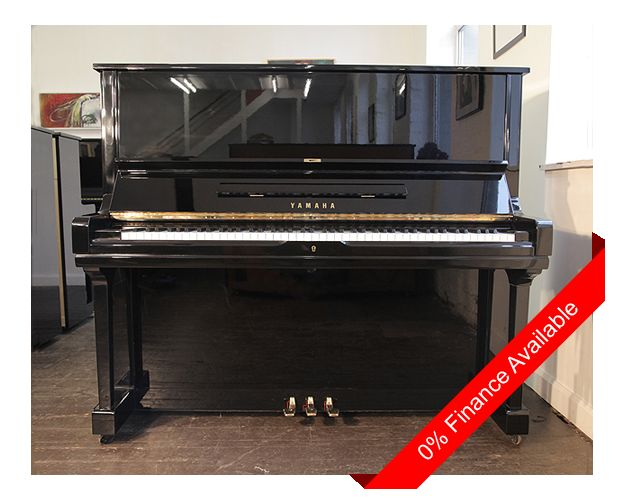 A 1973, Yamaha U3 upright piano with a black case and polyester finish. Piano has three pedals and an eighty-eight note keyboard. £3950 at Besbrode Pianos