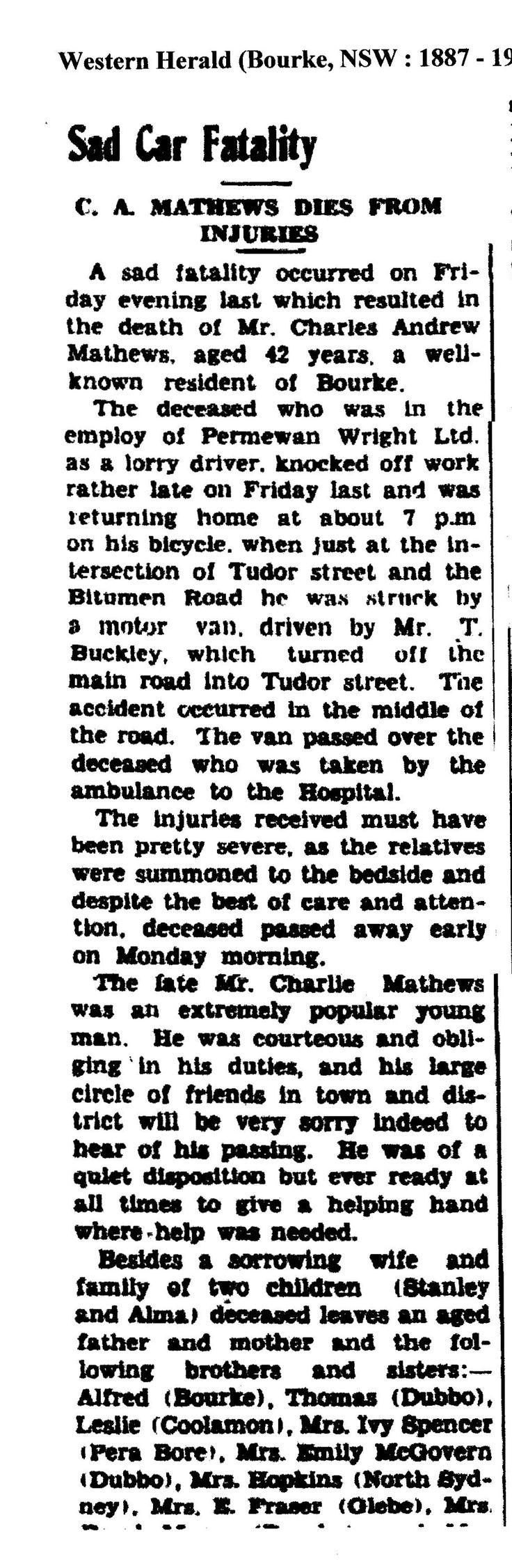Part 1 ; Charles Mathews accidently killed 1945, son Stan Mathews.