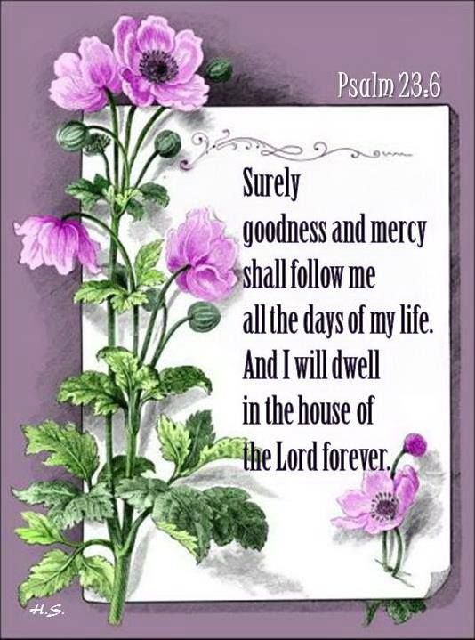Surely goodness and mercy shall follow me all the days of my life.  And I will dwell in the house of the Lord forever Psalm 23:6