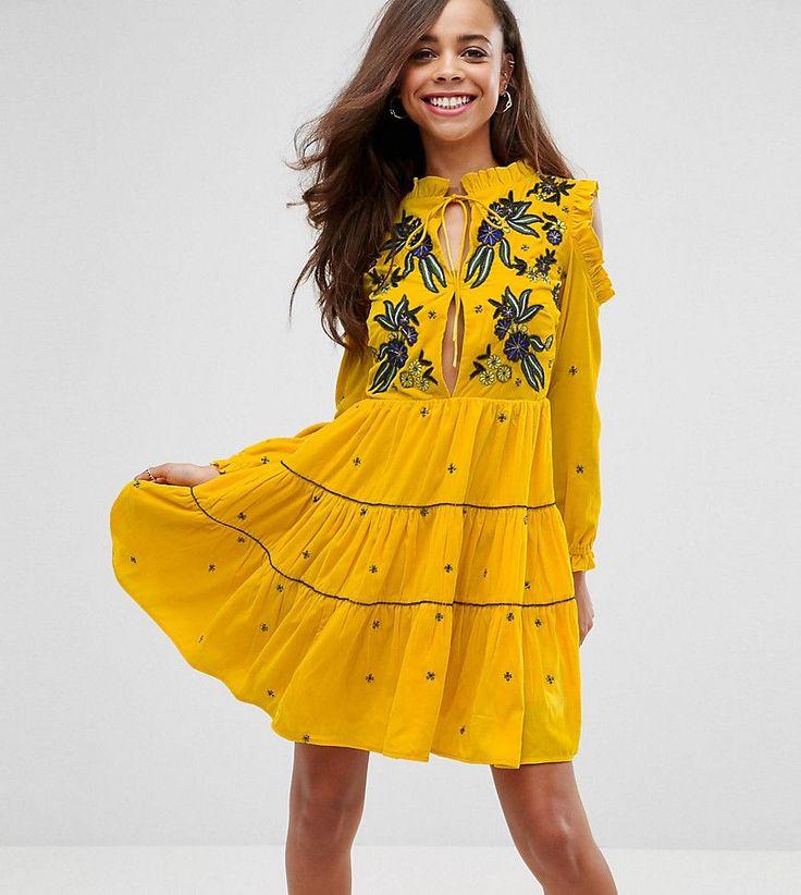 Frock And Frill Petite Cold Shoulder Velvet Smock Dress With Floral Em
