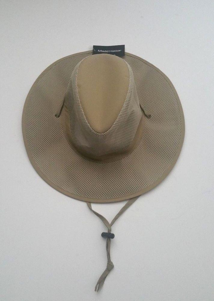 Madd Hatter Men s Boonie Outdoor Bucket Hat w  Mesh Crown   Strap Khaki  Size S M  MaddHatter  BoonieHat 78f25fe6eea
