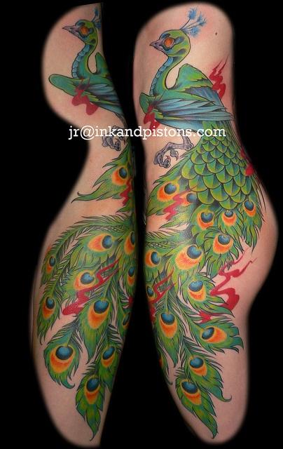 Peacock tattoo side