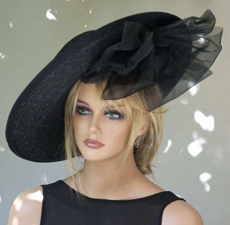 Black Wide Brim Hat Derby Hat Melbourne Cup Hat Women's Black Hat Ascot Hat Horse race Hat Saucer Hat, Occasion Hat, Formal Hat, Elegant Hat