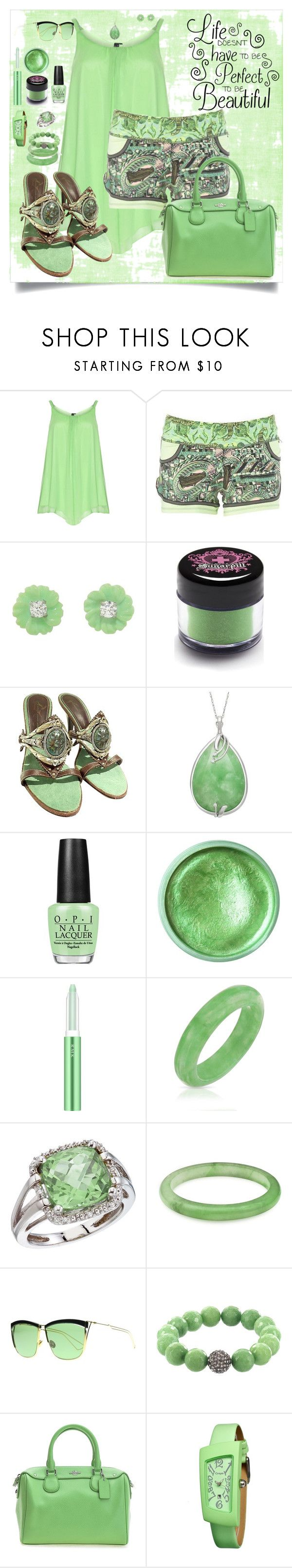 """Leaf greens"" by designcat-colour ❤ liked on Polyvore featuring Yoek, Irene Neuwirth, Sugarpill, Giuseppe Zanotti, OPI, RMK, Bling Jewelry, BillyTheTree, Christian Dior and Crayo"