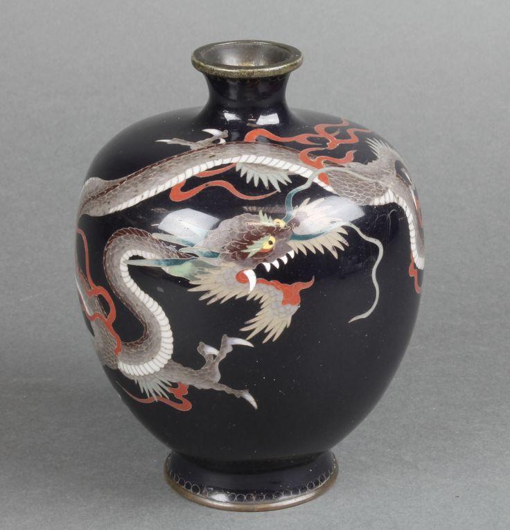 "Lot 231, A Japanese black ground cloisonne enamelled vase decorated a dragon 4 1/2"", est £80-120"