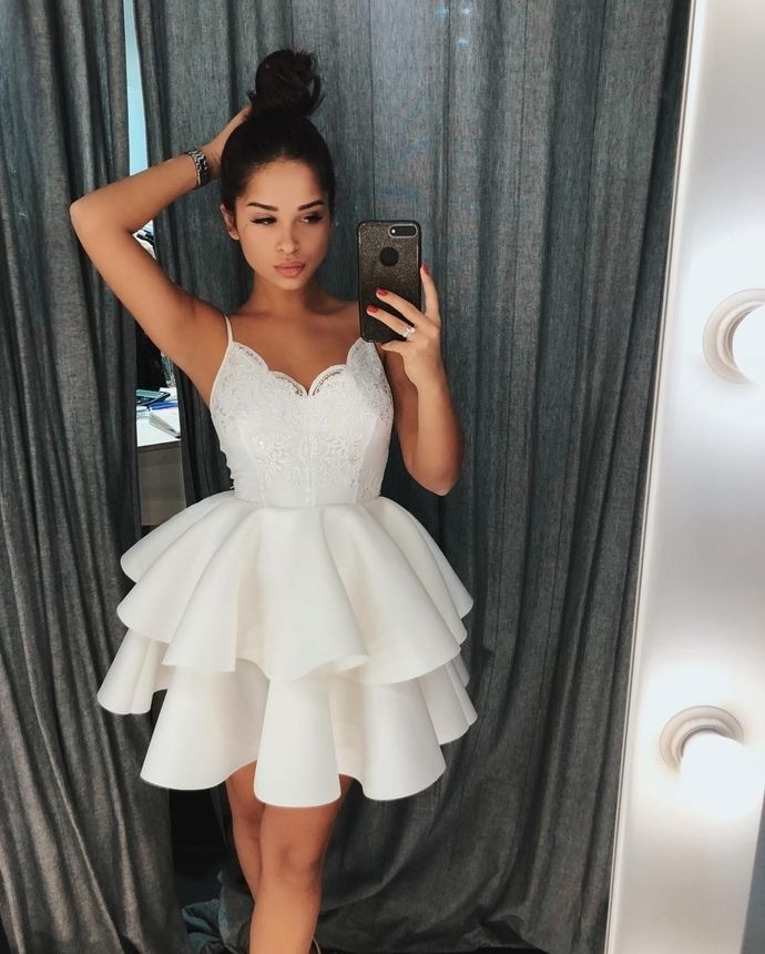 cd288fda185ea Cute White Spaghetti Straps Homecoming Dress with Lace Top,Ruffles ...