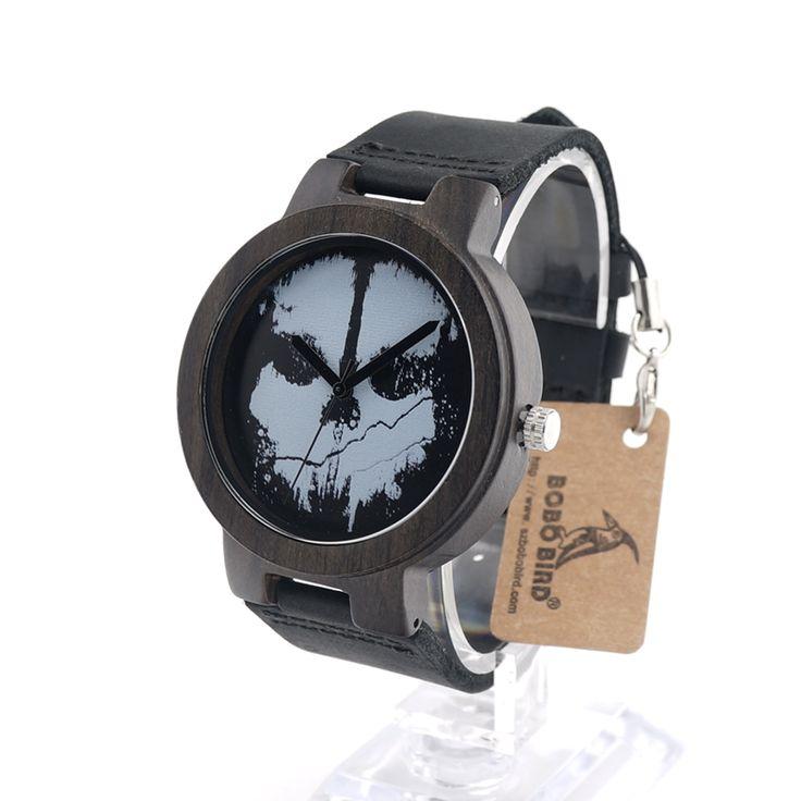 Wood Round Face Skull Watch Gift //Price: $59.99 & FREE Shipping //     #skull #skullinspiration #skullobsession #skulls